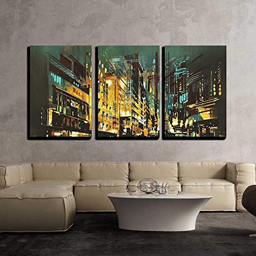 Scene Decor Street (wall26 - 3 Piece Canvas Wall Art - Night Scene Cityscape,Abstract Art Painting - Modern Home Decor Stretched and Framed Ready to Hang - 24