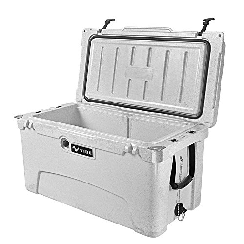 Vibe Heavy Duty 75 Quart Roto Molded Cooler Ice Chest with Bottle Openers Gray