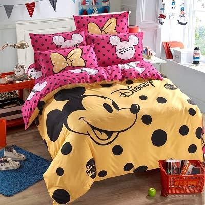 Best Quality - Bedding Sets - Mouse Minnie Children Bedding Set Size Duvet Cover Flatsheet Pillowcase Bedlinen Set for Kids Size Full
