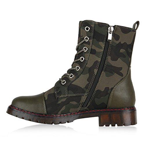 Stiefelparadies Damen Worker Boots Gefütterte Stiefeletten Leder-Optik Schuhe Flandell Dunkelgrün Prints