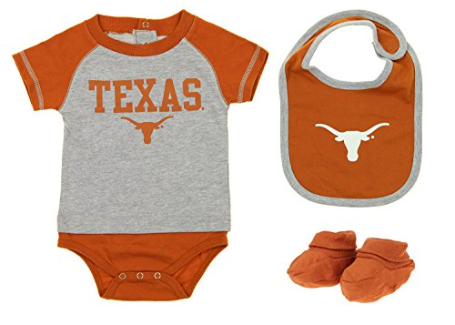 Texas Longhorns NCAA Baby Boys Infant 3 Piece Bodysuit Set, Orange / Grey (Soccer Texas Longhorns)