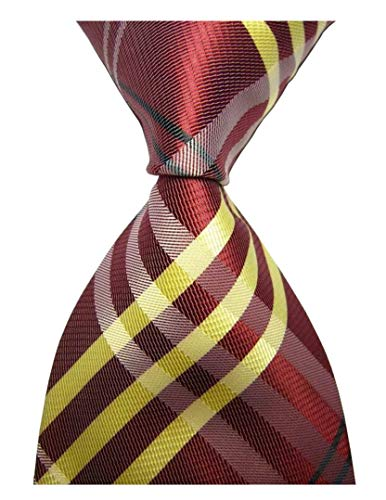 Secdtie Men's Classic Checks Dull Red Yellow Jacquard Woven Tie Formal Necktie