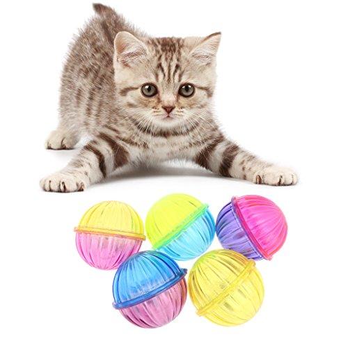 Qupida 5 Pcs Cat Toy Hollow Ball Bell Sound Inside Pet Game Kitten Plastic Interactive Rattle