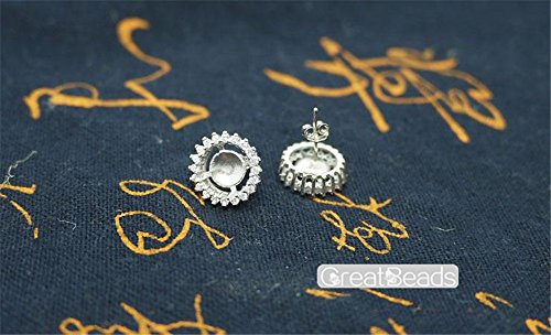 Earring Settings for 6mm-9mm Round Beads or Pearls White Gold Plated 925 Silver Zircon Blank Earring Studs EH22