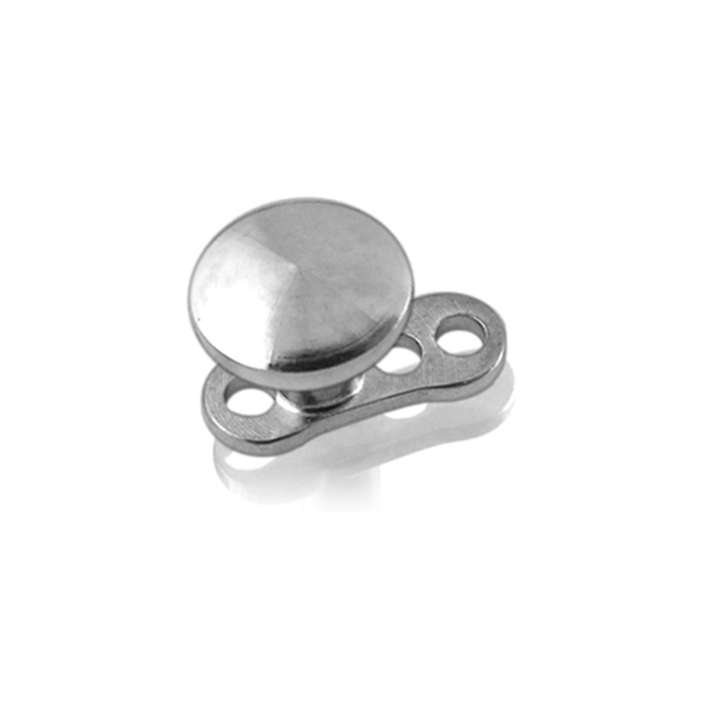 2MM Steel Disc Dermal Anchor Piercing - 316L Surgical Steel Top with G23 Titanium Base Dermal Anchor Jewelry