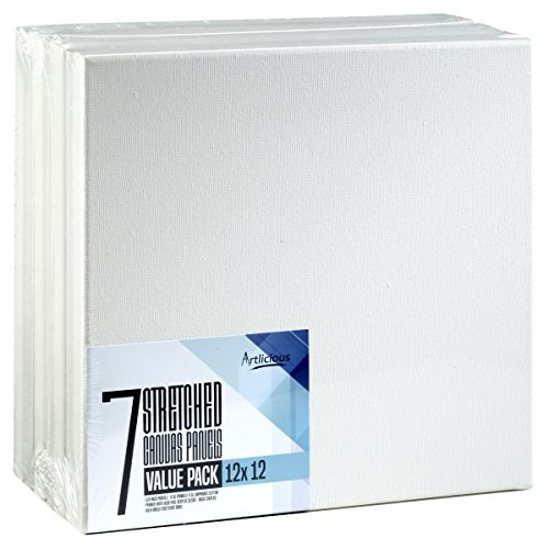 Artlicious - Super Value 7 Pack - 12x12 Pre-Stretched Cotton Canvas Panel Boards - Use with All Acrylics, Oils and...