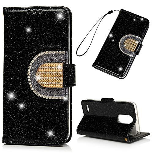 (LG Aristo 2 Case, LG Tribute Dynasty/LG Zone 4 / K8 2018/LG Fortune 2 case, Glitter Crystal Glitter Diamond PU Leather Automatic Closing Soft Inner TPU Bumper Flip Protective Case Cover - Black )