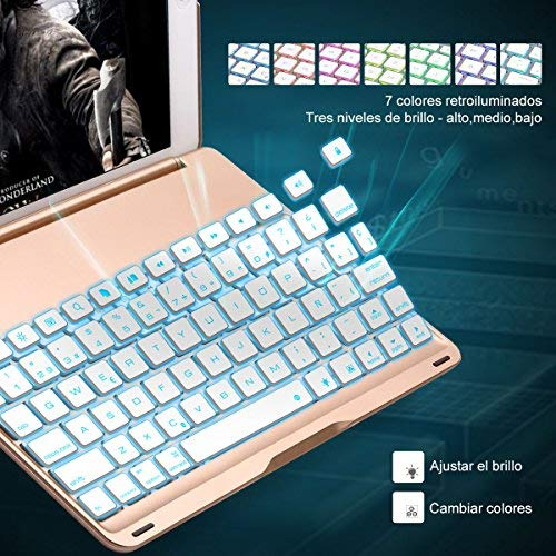 iEGrow Funda de Teclado iPad Air 2 para iPad Air 2 Modelo A1566 / A1567, Funda de Teclado Bluetooth Clamshell Delgada con 7 Colores LED Retroiluminada(Oro): ...