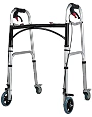 Disabled aids Zimmer Frame, Bariatric Heavy-Duty Folding Walker with Wheels for Seniors - Adult Walkers with Locking Swivel Wheels Walking Frames for Disabled