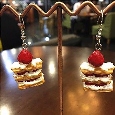 Amazon.com : I was sed original can customizable cute strawberry sweet tea snack food cake earrings earrings female : Beauty