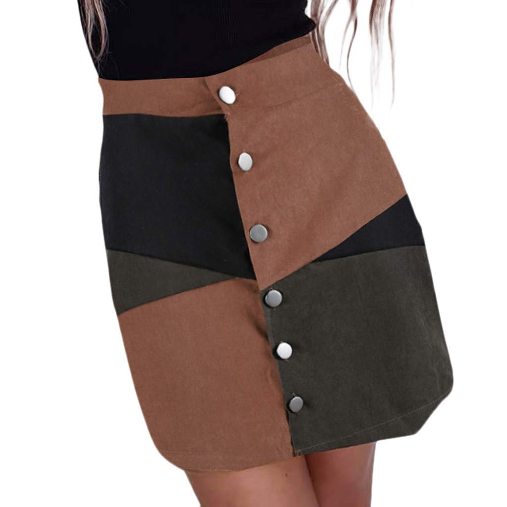Fashion Skirt in Londony ♥‿♥ Women's Faux Suede Button Color Block Closure A-Line Tight Mini Short Skirt by Londony❤ღ♕ (Image #1)