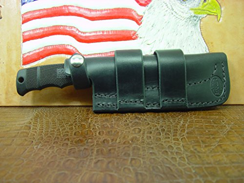 Custom Made Cross Draw Knife Sheath That Will fit The SOG Seal pup Dyed Black. A lot of Leather for The Price. Can be Worn on Left or The Right Hand Side. -  by Carl Thomas, Sheath Maker