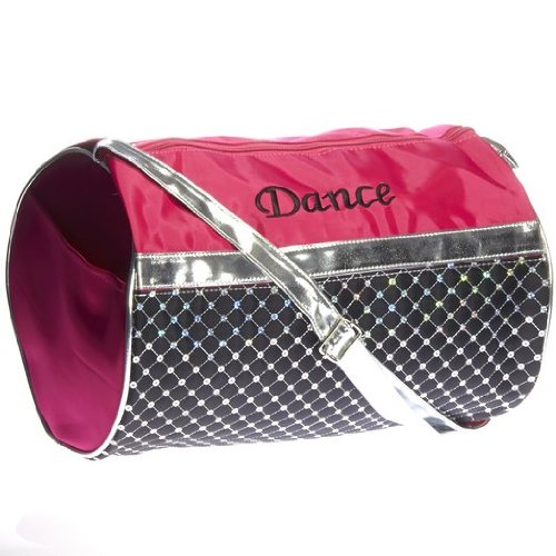 Girls Dance Fuchsia Black and Sliver Sequin Duffel Bag
