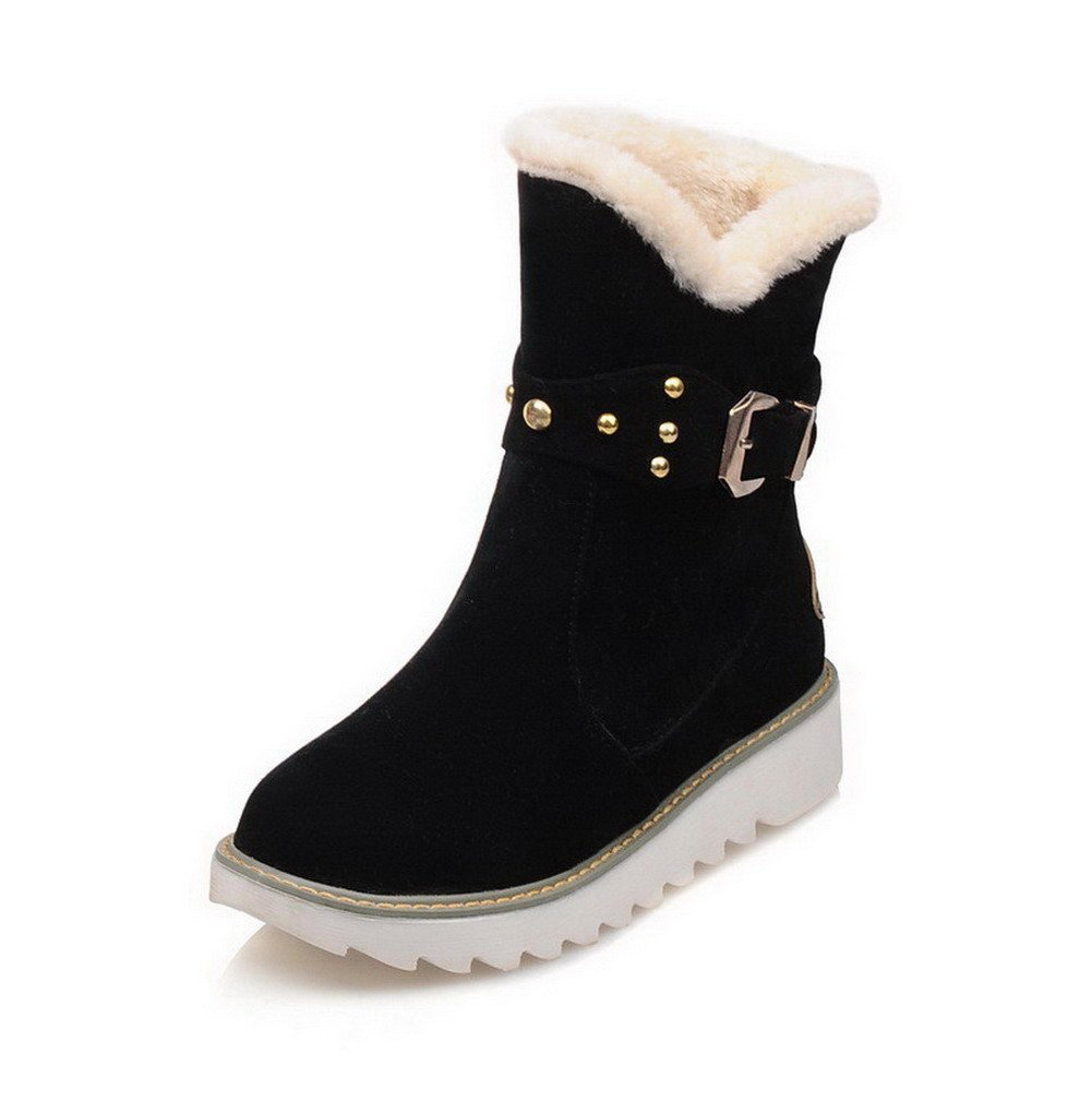 VogueZone009 Women's Frosted Round Closed Toe Solid Low-top Low-Heels Snow-Boots, Black, 36