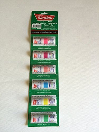 Poysian Mark II Menthol Nasal Inhaler From Thailand (Pack of 6) (Metal Eye Patch)