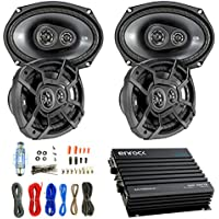 Car Speaker And Amp Combo: 4x Kicker 43CSC6934 900-Watt 6 x 9 Inch CS Series 3-Way Black Car Coaxial Speakers - Bundle With 400-Watts 4-Channel Bluetooth Amplifier + 8-Gauge Amp Install Wiring Kit