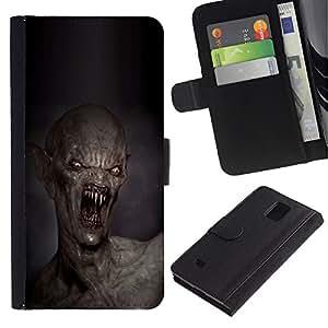 iBinBang / Flip Funda de Cuero Case Cover - Teeth Kill Death Monster Creepy - Samsung Galaxy Note 4 SM-N910