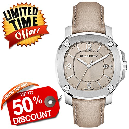 Burberry The Britain SWISS LUXURY Round Stainless Steel Trench Leather Strap Band 38mm Beige Dial Women Watch BBY1500