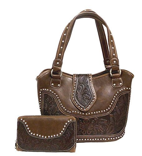 Montana West Concealed Gun Purse and Wallet Set Tooled Genuine Leather Coffee ()