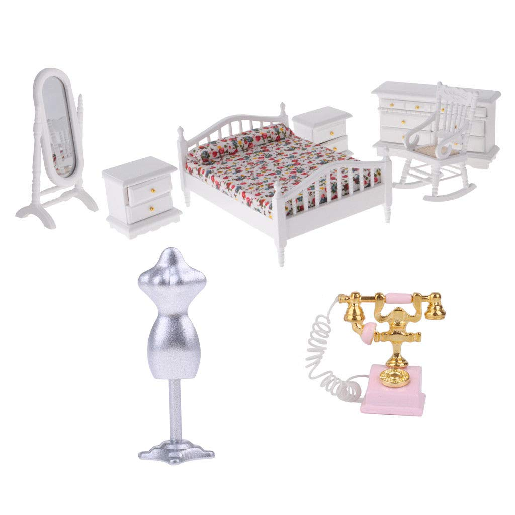 1/12 Dollhouse Miniature Bedroom Furniture Kit Wood Bed Dresser Mirror Chair 51uSLVp8jsL