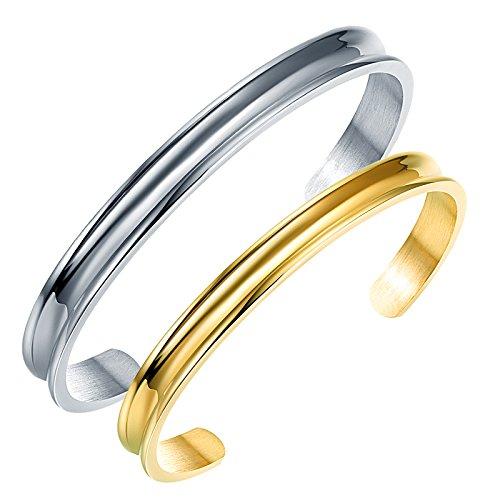 7mm High Polish Bangle Bracelet (Liuanan 2pcs Stainless Steel Couples Bracelets Curved Groove Cuff Bangle For Women Men (7mm 18K Gold + 10mm Silver))