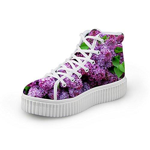 HUGS IDEA Fashion Floral Women Platform Sneakers High Top Shoes Flower7 DZ7djKiMiW