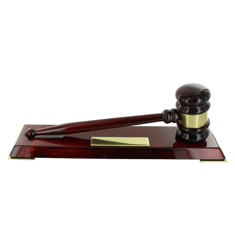 Deluxe Rosewood Piano Finished Gavel and Stand, no Personalization