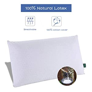 SWEESLEEP Medium Soft Natural Talalay Latex Foam Bed Pillow