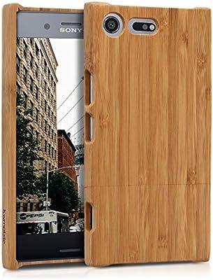 kwmobile Funda para Sony Xperia XZ Premium - Carcasa Protectora de [bambú] para móvil - Case [Duro] en [marrón Claro]