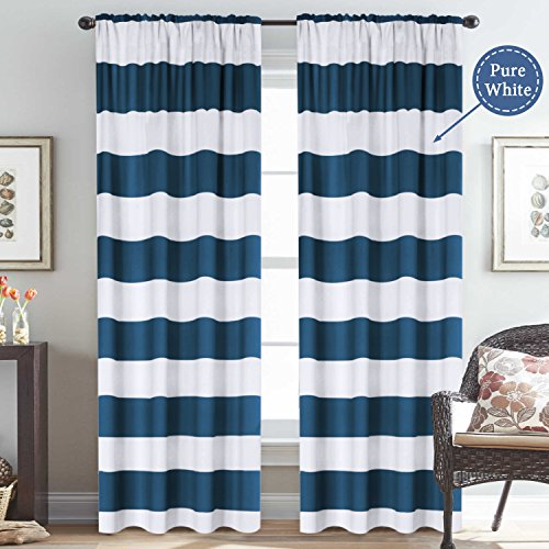 Window Treatment Thermal Insulated Rod Pocket Room Darkening Striped Curtains Drapes for Bedroom/Living Room (2 Panels, 52 by 96, Nautical Navy / White) (Room Ideas For Curtain Blue Living)