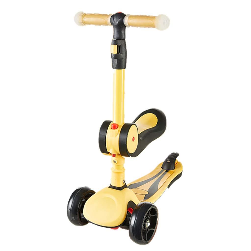 CMXIA Motorino per Bambini Regolabile in Altezza   Pieghevole   Sedile Girevole per Bambini Adatto per 1-6 Anni Uomini e Donne Bambino Scooter principiante ( Colore   giallo )