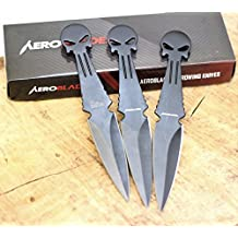 "Aeroblades 6"" 3 Pcs Set Punisher Skull Head Throwing Knife"