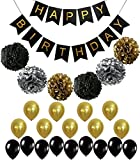 Perfect Black and Gold Decoration Set, Happy Birthday Banner, Fluffy Pom Poms with Balloons, Best Party Supplies for 21st 30th 40th 50th any Bday Boy Girl Theme, Classy Gold Bunting Foil Letter Sign