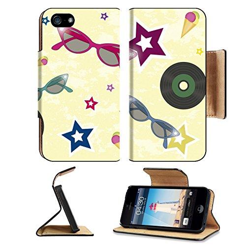 Liili Premium Apple iPhone 5 iphone 5S Flip Pu Leather Wallet Case iPhone5 IMAGE ID: 13670748 backgroun 50 s with sunglasses vinyls ice cream and - Vinyl Sunglasses Factory