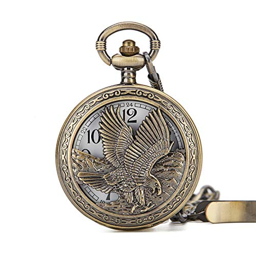 Antique Bronze Eagle Quartz Pocket Watch with Chain, used for sale  Delivered anywhere in USA
