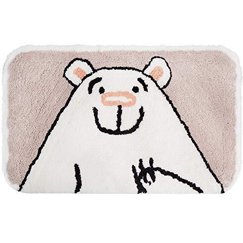 Non-Slip Kids Bath Mat, Soft Shag Cute Bear Bath Rug for Bathroom, Doormats for Bedroom Front Door, Water Absorbent Microfiber Rugs, 19.5