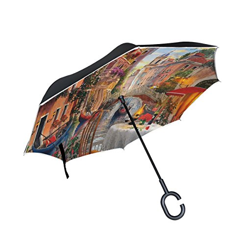 (imobaby Jennifer Straight Self-standing Reserve Umbrella Romantic Venice Water City Double Layer Inverted Folding Umbrella Waterproof Umbrellas for Car)