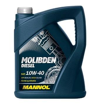 MANNOL Aceite de motor de molibdeno para diesel de 5 litros 10W40: Amazon.es: Coche y moto