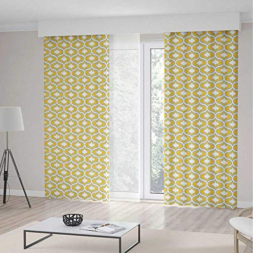 - iPrint Ikat Blackout Curtains,Oval Shaped Design Vivid Color Ogee Motif Indonesian Culture Inspired Pattern Decorative,Window Drapes 2 Panel Set, Living Room Bedroom,157 W 106 L,Yellow Grey White