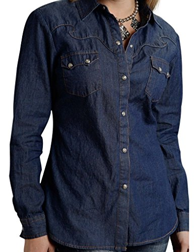 Roper Western Shirt Womens L/S Denim Snap XL Blue 03-050-0594-6030 BU