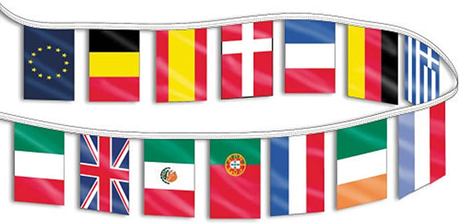LATIN AMERICA COUNTRIES STRING OF FLAGS 30 FEET PENNANTS NEW