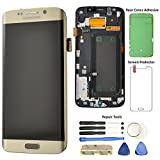 Display Touch Screen (AMOLED) Digitizer Assembly with Frame for Samsung Galaxy S6 Edge (5.1 inch) (GSM Model) AT&T (G925A)/ T-Mobile (G925T)/ Global(G925F) (for Phone Repair) (Gold Platinum)