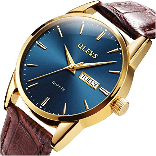 (OLEVS Mens Watches Waterproof Luminous Luxury Business Casual Dress Blue Face Big Dial Gold Bezel Analog Quartz Wrist Watch with Day and Date with Male Retro Leather Band Brown Christmas Gift On Sale)