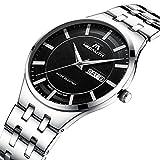 Mens Black Wrist Watches Men Waterproof Ultra Thin Silver Stainless Steel Watches Day Date Calendar Watch