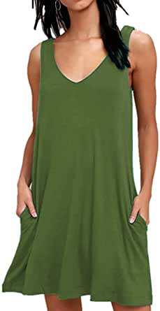 MISFAY Women's Summer Casual T Shirt Dresses Beach Cover up Plain Tank Dress with Pockets