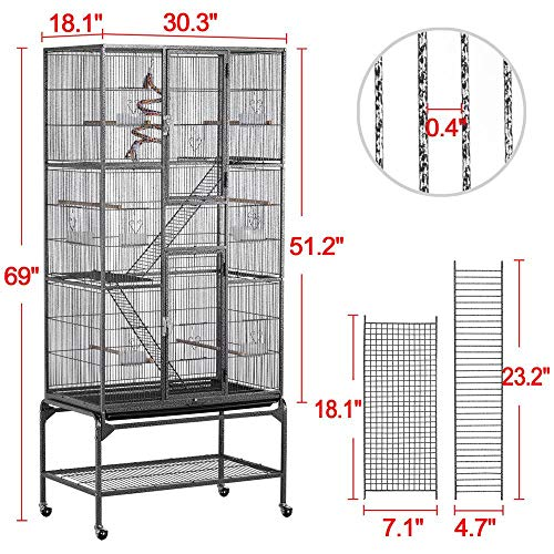 YAHEETECH 69-Inch Extra Large Bird Cage for Mid-Sized Parrots Cockatiels Conures Parakeets Lovebirds Budgie Finch Small Animal Cage for Rats Chinchillas Ferrets