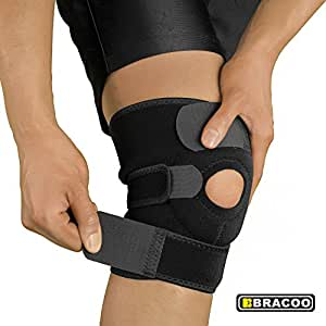 Bracoo Breathable Neoprene Knee Support Sleeve - Active Wear, Adjustable Size, Black