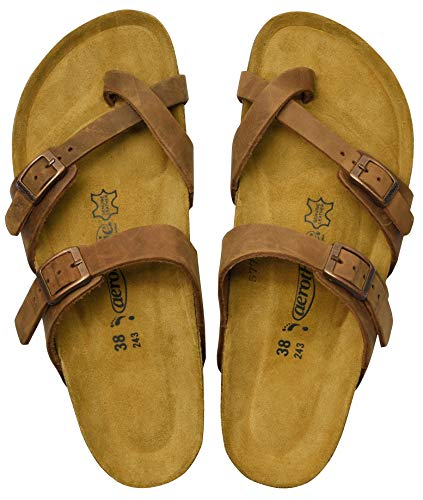 - AEROTHOTIC - Genuine Suede Leather and Cork Footbed Sandals for Women (US-Women-10, Minerva Brown)