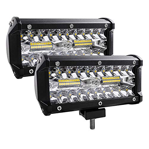 (Zmoon Led Light Bar, 2Pcs 240W 24000lm [ Aluminum Alloy Die-casting Shell ] Led Spotlight Off Road Lights Super Bright Flood Driving Light for SUV Jeep Boat)