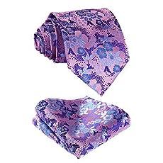 SetSense Men's Floral Jacquard Woven Tie Necktie Set